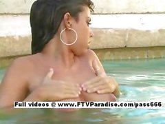 Christy easy going teenage gorgeous brunette in the pool