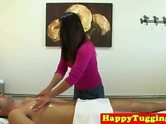 Nerdy japanese masseuse makes her client cum