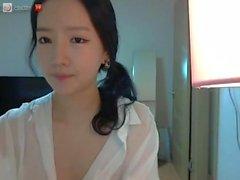 Korean Webcam Girl in White