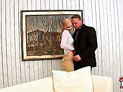 Glammed up Blonde Misty Mild gives mouth job