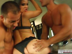Emilie gets her ass fucked by two guys. They are so horny