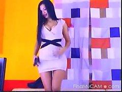 Сексуальная горячая stripteasing милашка дома соблазнение с ее горячей СТЮ