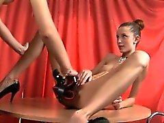 Strapon fun with ultracute bony girls
