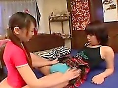 Two sweet Oriental lesbians explore their fantasy with stra