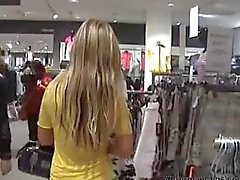 German blonde fucked in shopping center