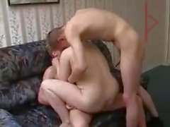 Russian mature plumper fucked and satisfied by two younger guys