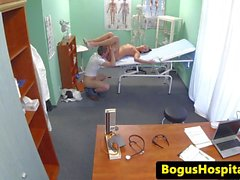 Gorgeous euro nurse collects patients cum