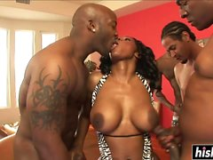 Hot ebony babe enjoys some BBCs