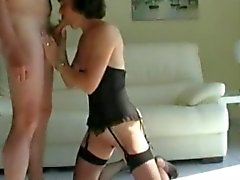 Mature wife in fishnet