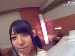 Pigtailed Japanese POV style sex