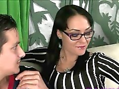 Sexy brunette step mom wants to lick his ass