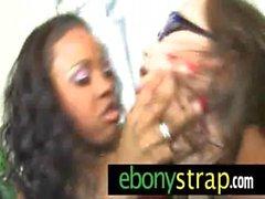 Ebony fucks lesbo with her big strapon 27