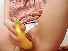 Banana in her unbelievable vagina