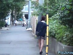 Heeled asian pee street