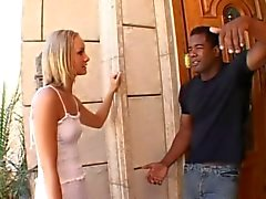 Skinny Blonde Slut Gangbang by Black Guys