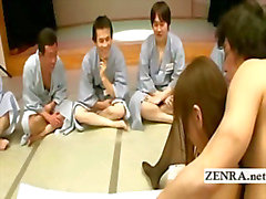 A group of ogrish Japanese men watch fingering action