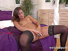 Hawt darksome heels on a sextoy fucking dark brown sweetheart