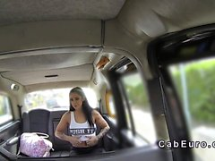 Fit busty Brit bangs in fake taxi