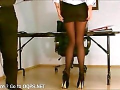 Secretary pantyhose exposed