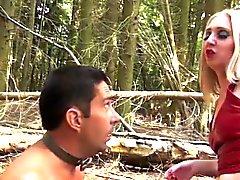 BDSM forest action with british femdom milf