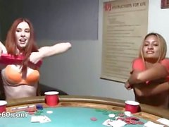 Young girls makinglove on poker night