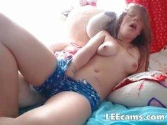 Horny girl hard nipples hard masturbating