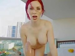 Busty redhead gives a massage and a nice blowjob and fuck