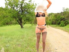 outdoor stripping with glamour in nylons