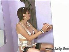 Big Tits English MILF Sucks Cock at the Gloryhole