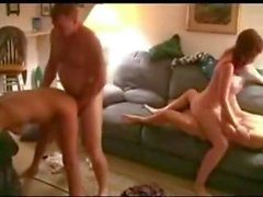 Swingers on home cam going at it hard