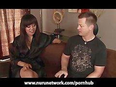 Asian Annie Cruz Gives Slippery Nuru Massage Blowjob