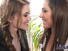 Two classy brunettes have some lesbian fun