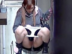 Asian ho squats to piss