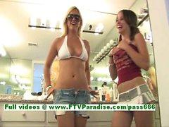 Denise amazing brunette babe getting naked and public flashing tits