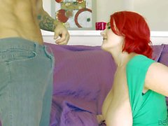 Big meloned redhead Siri sucks and fucks