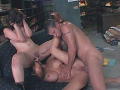 Smutty babes give in to hardcore ffm fucking in the library