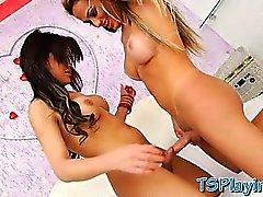 Zwei reizvolle trannies Bruna und Julianna Kern anal fucking
