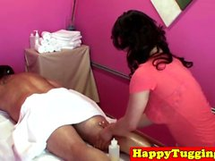 Real asian masseuse pampers customer dick