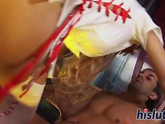 Hot blonde nurse rides a thick prick
