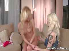 Sexy blonde lesbians get horny taking part4