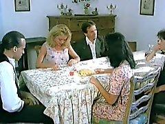Vintage porno. Pussy under table.