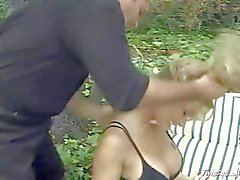 Blonde MILF gets her pierced twat fingered outdoor