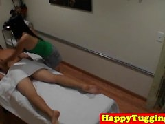 Asian masseuse Celia tugging and sucking