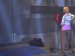 Lovely lesbians play with a long sex toy