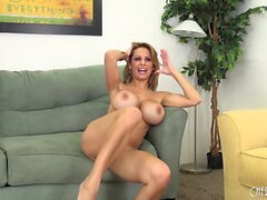 Big knockers on Alyssa Lynn sway while getting banged on the couch