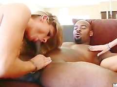 Blonde Lesbian MILFs Amanda Blow And Torri Pines Share A Big Black Cock