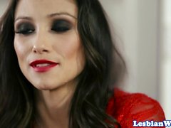 Lesbian babe pussylicked by beautiful les