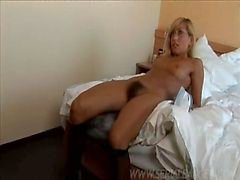 Hairy Blonde cleaner fucked