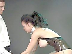 Chained busty slave pierced pussy banged