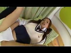 Pigtailed schoolgirl in white panties feeds her lust for ma